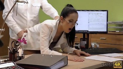 LOAN4K. brunette with tatted melons becomes hoe in loan office
