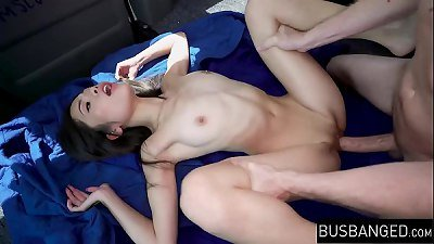 Tiny Asian beauty Vina Sky stretched in the back of a van