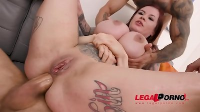busty tattooed whore Sabien Demonia very first time to xxx with 4on1 Airtight dp SZ2461